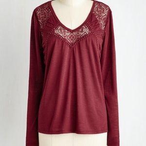 ModCloth Taylor & Sage long sleeve blouse, wine